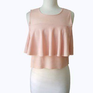Zara Peach Sleeveless Ruffle Crop Top